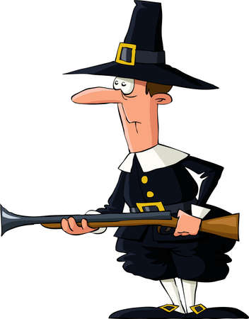 hunter man: Pilgrim on a white background, vector illustration Illustration