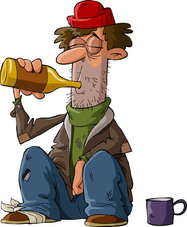drunkard: Homeless on a white background, vector illustration