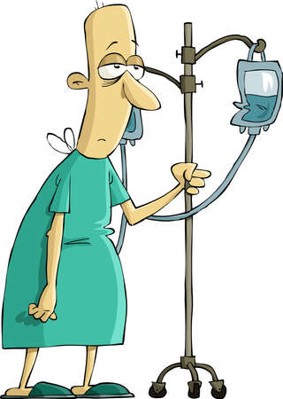 cartoon sick: Hospital patient with a dropper, vector illustration Illustration