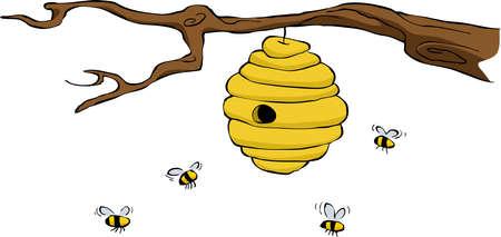 abeja caricatura: Beehive en una ilustración vectorial de fondo blanco, Vectores