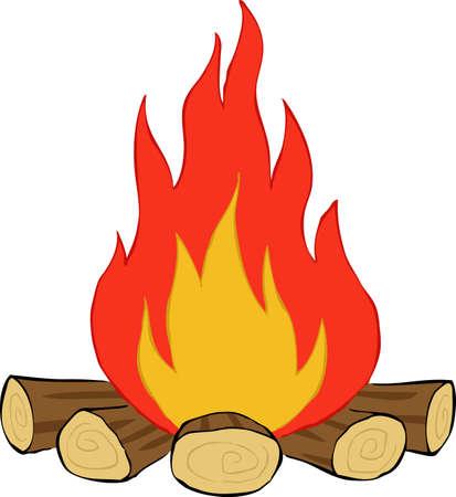 lägereld: Bonfire på en vit bakgrund, vektor illustration