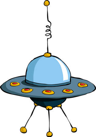 spacecraft: A flying saucer on a white background, vector Illustration