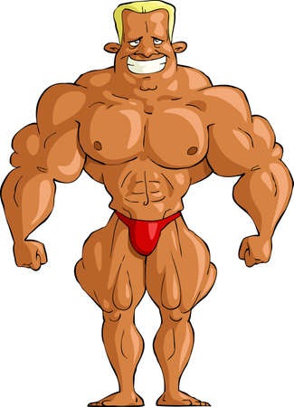 muscular men: Bodybuilder on a white background, vector illustration Illustration