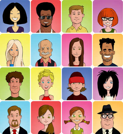 caricatura: Conjunto de varias caras de dibujos animados, ilustración vectorial