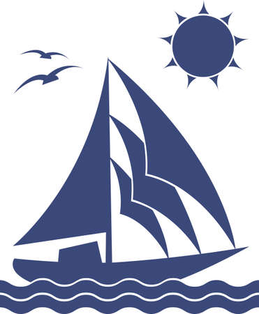 marine bird: A silhouette of the yacht on white background, vector