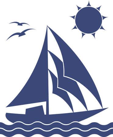 marine bird: Una silueta de la embarcaci�n en el fondo blanco, vector Vectores