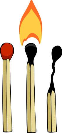 cerillos: Tres partidos en una ilustración vectorial de fondo blanco,