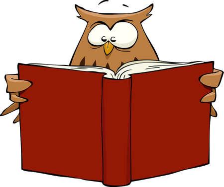 libro caricatura: Caricatura del b�ho leyendo un libro, ilustraci�n vectorial