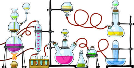 experiment: The chemical laboratory on a white background, vector Illustration