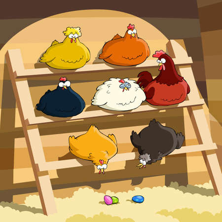 chicken coop: Hens sit on the perch, vector illustration