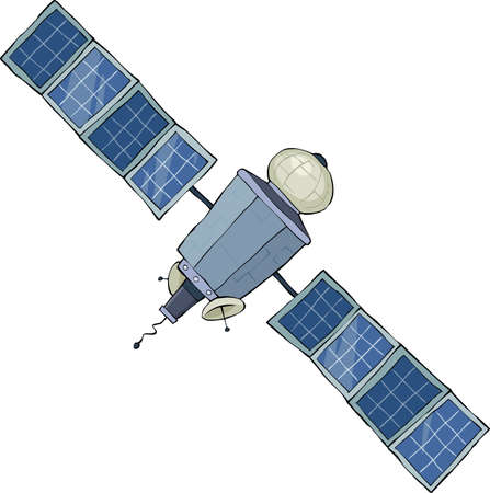 spacecraft: Space satellite on a white background, vector Illustration