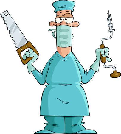 Cirujano sobre un fondo blanco, ilustración vectorial