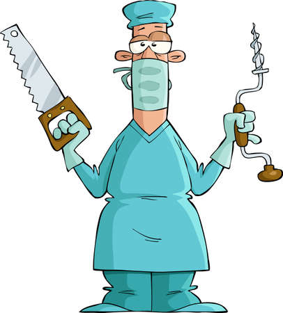 operation gown: Surgeon on a white background, vector illustration