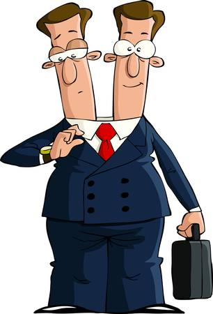 man painting: Cartoon businessman with two heads, vector illustration