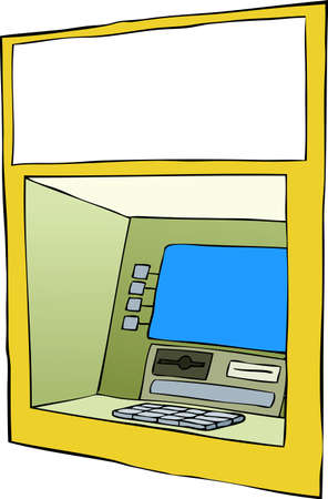 Cash machine on a white background, vector  Vector