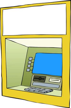 cash machine: Cash machine on a white background, vector