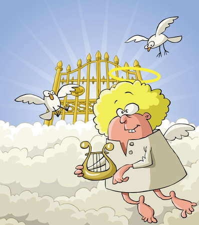 angel cartoon: Angel on the background of the gates of paradise