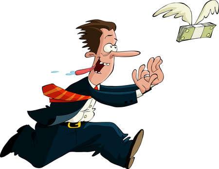 A man runs after money