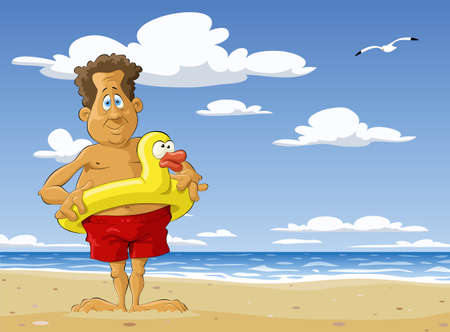 cartoon bathing: The man on the beach Illustration