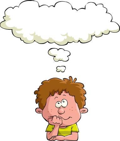 bambini pensierosi: Sognare bambino su uno sfondo bianco