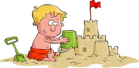 A boy builds a sand castle Vector