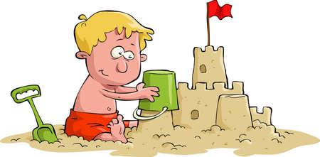 chateau de sable: Un gar�on construit un ch�teau de sable Illustration