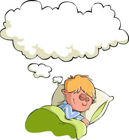 enfant qui dort: Le garçon a une illustration vectorielle rêve, Illustration