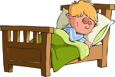 enfant qui dort: Le garçon était endormi dans son lit, vecteur