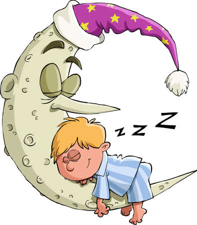 luna caricatura: El niño está durmiendo en la luna, el vector