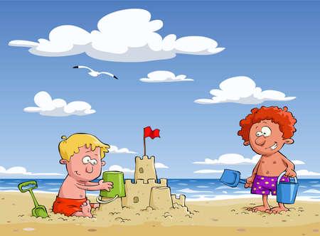 Cartoon children on the beach, vector illustration