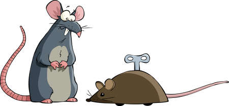 mechanical mouse: Two mouse on a white background, vector Illustration