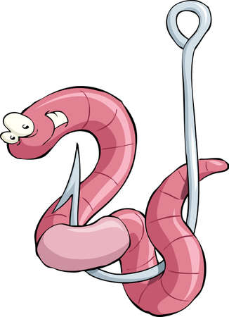 fishhook: Cartoon worm on a hook, vector illustration