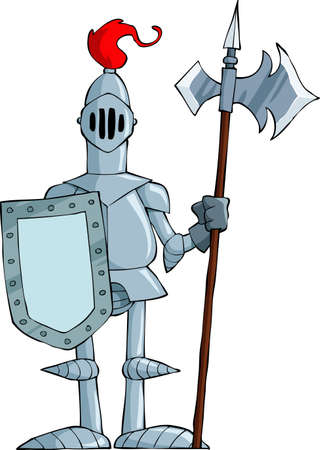 cartoon knight: Knight on a white background, vector illustration