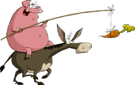 baits: Pig rides on a donkey, vector illustration