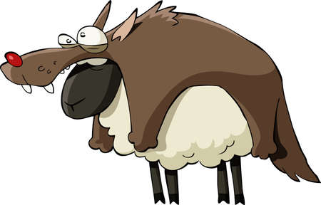 cartoon sheep: A sheep in wolfs clothing, vector illustration