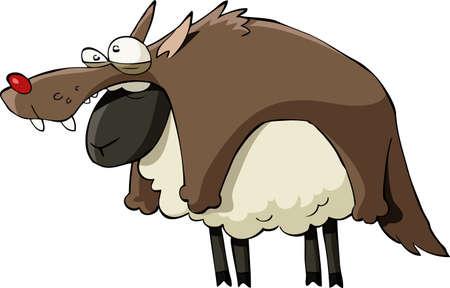 and sheep: Una oveja en la ropa, la ilustración vectorial de lobo