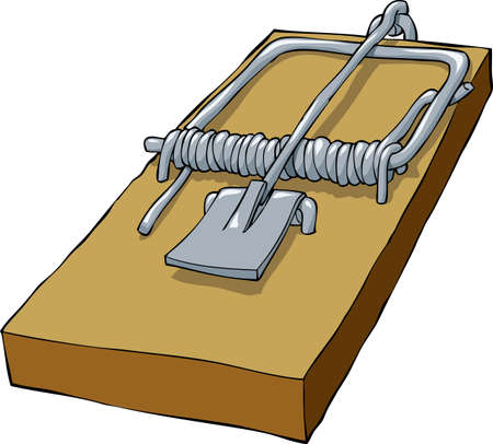 Souricière sur un fond blanc, illustration vectorielle