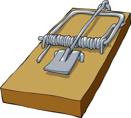 Trampa para ratones sobre un fondo blanco, ilustración vectorial