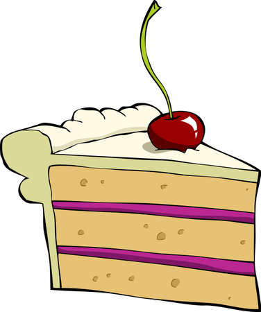 Pedazo de pastel con la cereza, ilustración vectorial