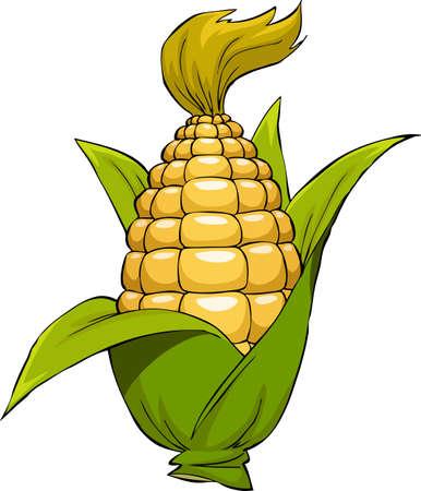 elote caricatura: El maíz sobre un fondo blanco, ilustración vectorial Vectores