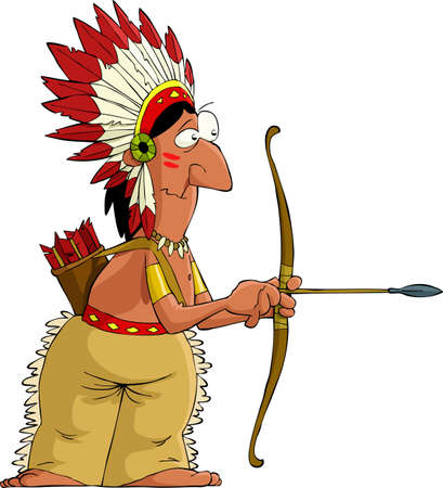 red indian: Indian on a white background, vector illustration Illustration