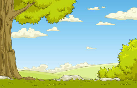 fun grass: Landscape with tree and shrub, vector illustration