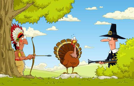 accion de gracias: Nativos americanos y los peregrinos de pavo cazar, vector de Vectores