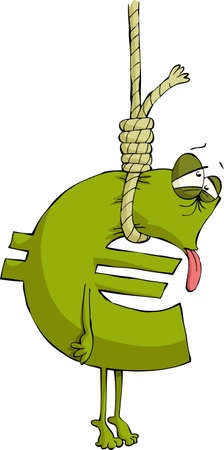 credit crisis: The euro sign in the loop, vector Illustration