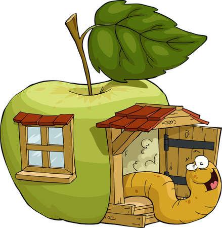 gusano caricatura: El gusano en la manzana de la casa, ilustración vectorial Vectores