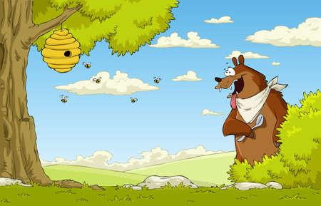 colmena: Un oso hambriento viendo abeja, ilustración vectorial