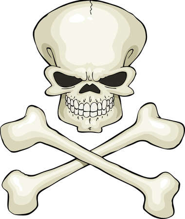 freemasonry: Skull and crossbones on a white background, vector Illustration