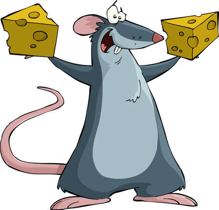 rat: Mouse on a white background, vector illustration