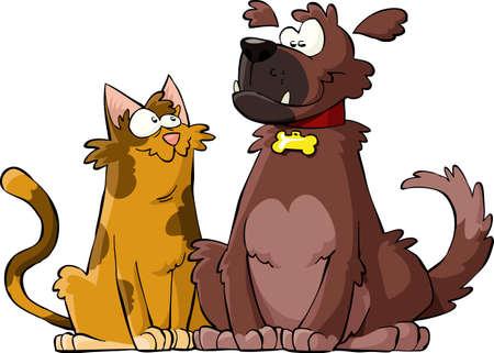 cartoon poes: Cartoon hond en kat samen vector illustratie Stock Illustratie
