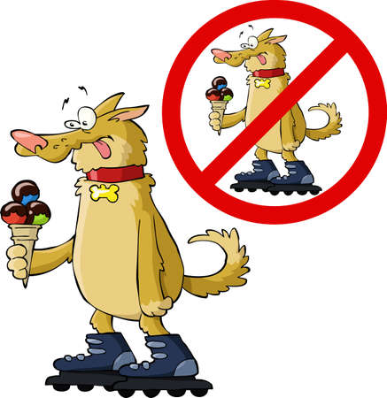 roller skates: The dog on roller skates and ice cream vector